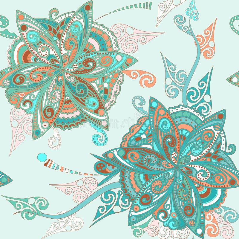 Kwiecisty wzór w wschodnim stylu ilustracja wektor