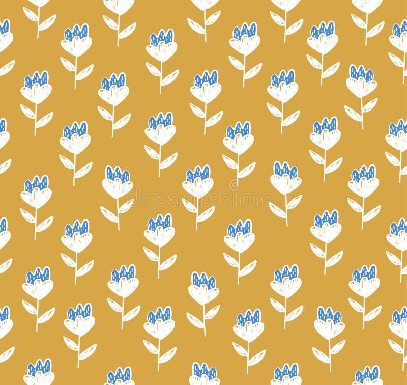 Kwiecisty wzór z śliczny białym i błękitem kwitnie ilustracji