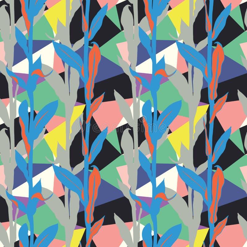 Kwiecisty wzór z jaskrawymi liśćmi i geometrycznym motywem ilustracja wektor