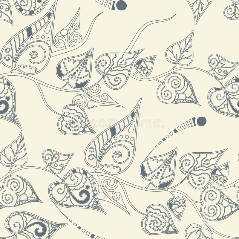 Kwiecisty wzór z kędzierzawymi liśćmi ilustracja wektor