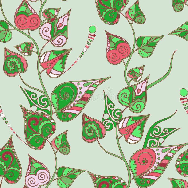 Kwiecisty wzór z kędzierzawymi liśćmi ilustracji