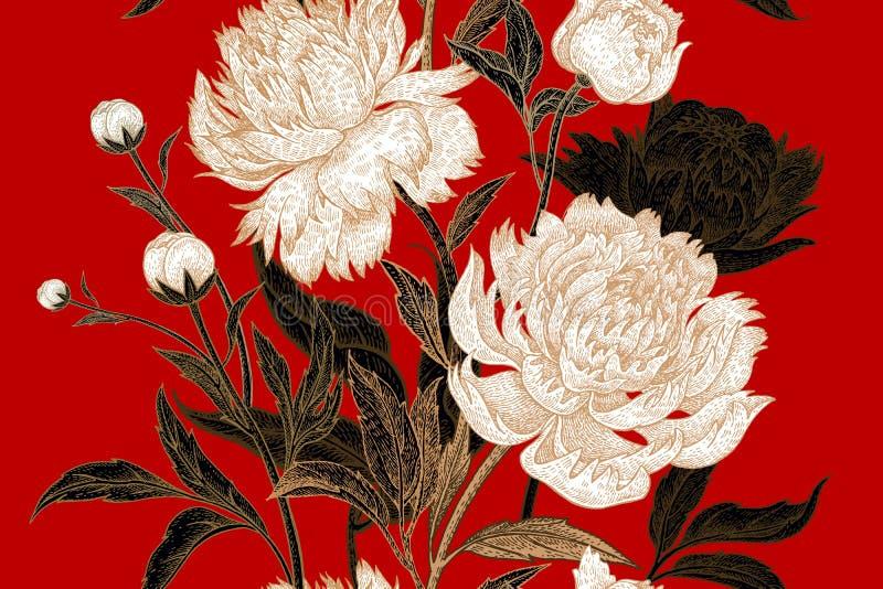 Kwiecisty wzór z peoniami royalty ilustracja