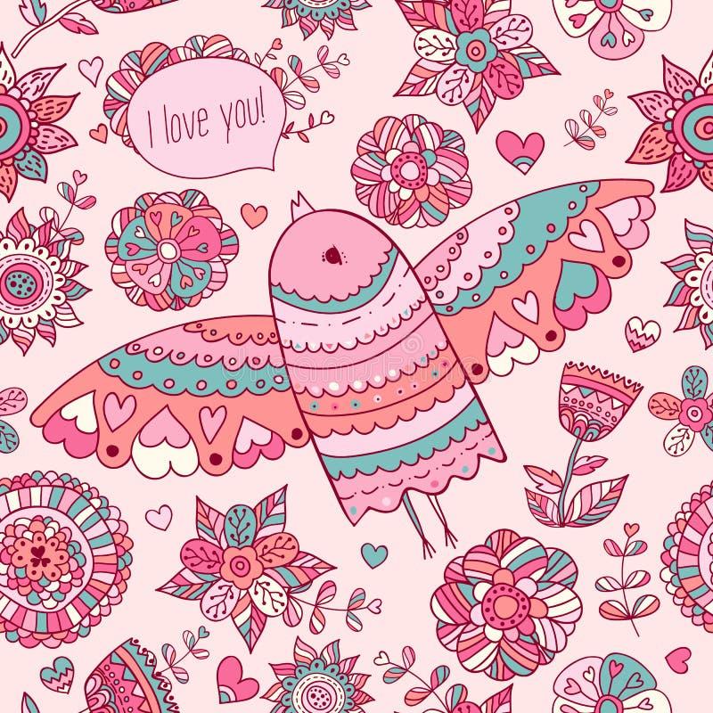 Kwiecisty wzór z ptakiem Valentine&-39; s tło z tekstem kocham ciebie royalty ilustracja