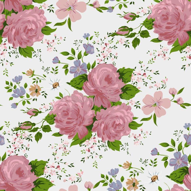 Kwiecisty wzór z różowymi różami ilustracji
