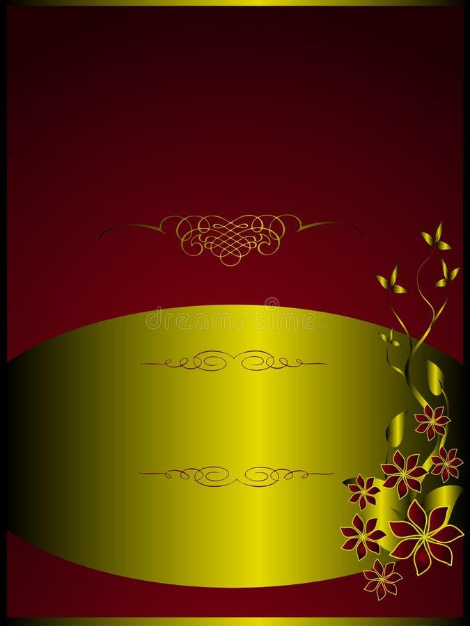 kwiecisty złocisty menu czerwieni szablon royalty ilustracja