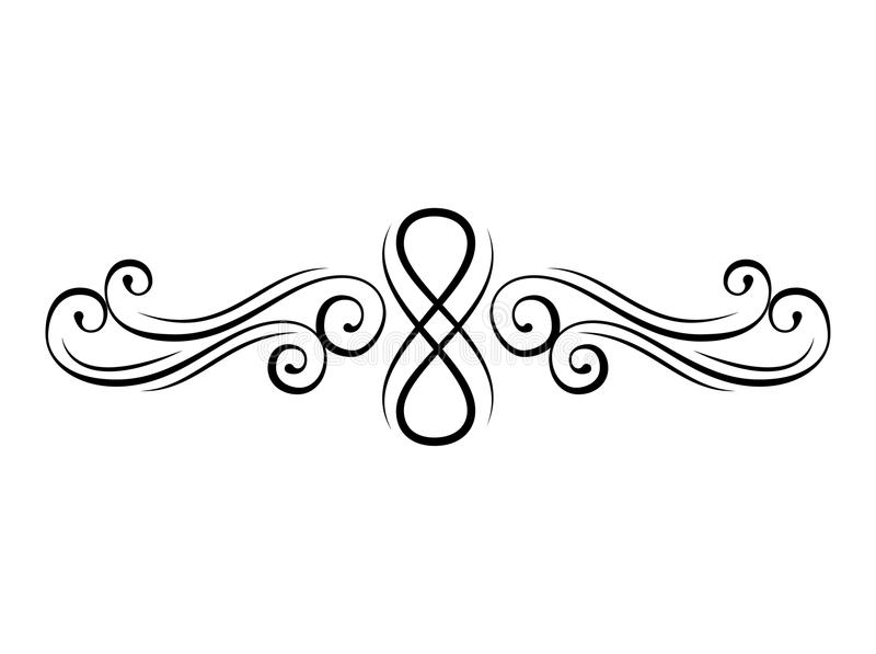 Kwiecisty zawijas Kaligraficzni dekoracyjni elementy Strony divider, granica Rocznika zawijasa styl Ornament wektor ilustracji