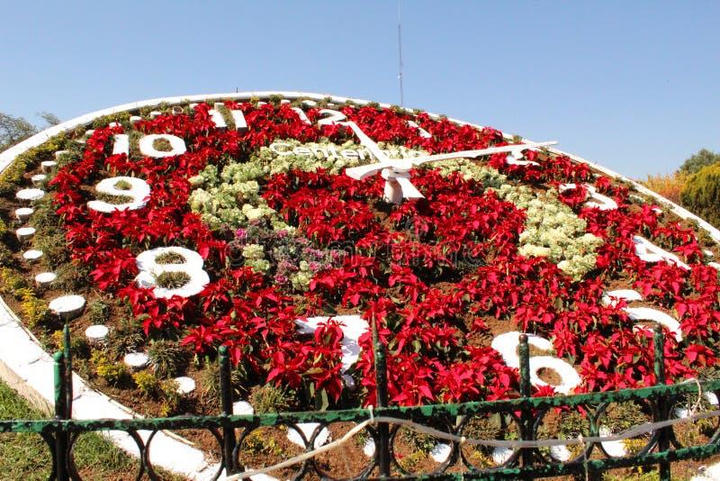 Kwiecisty zegar w Meksyk Magiczny miasteczko i światowego dziedzictwa miejsce zdjęcia royalty free