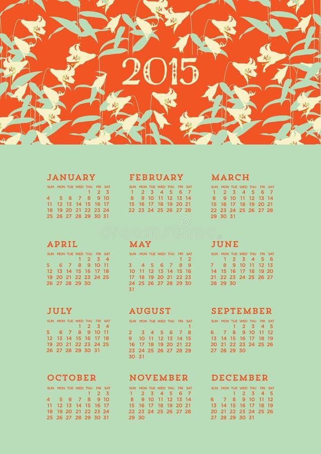 2015 Kwiecistych kalendarzy ilustracja wektor