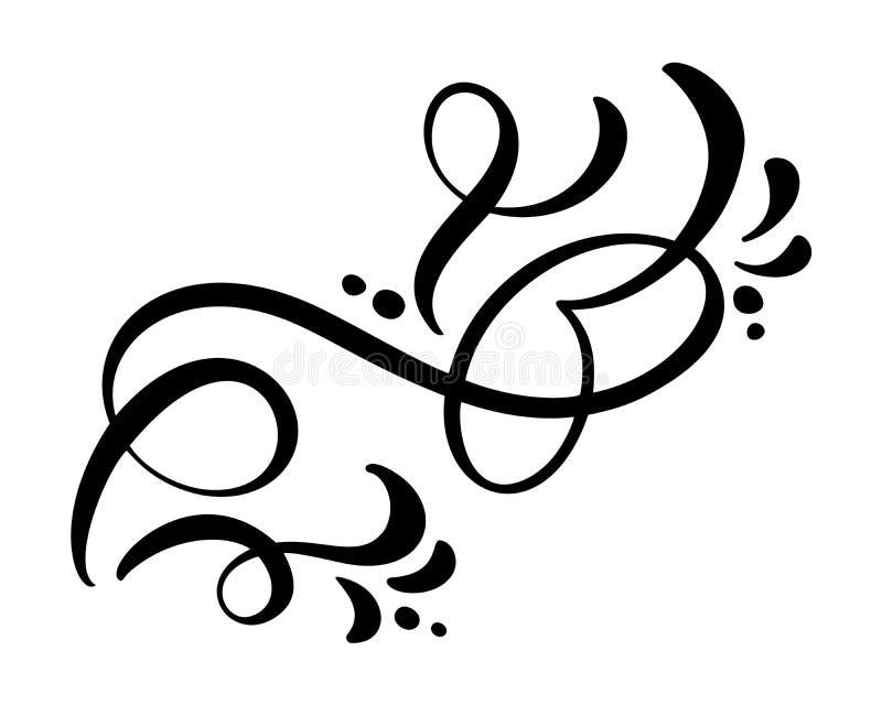 Kwiecistych linii projekta filigree elementy Wektorowej rocznik linii eleganccy dividers i oddzielacze, wirują i osaczają ilustracja wektor