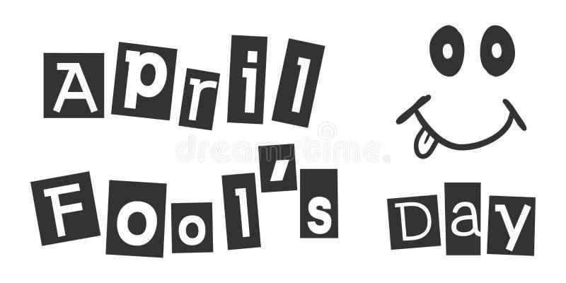 Kwietni durni dnia teksta ikona w mieszkanie stylu Szczęśliwego sztandaru wektorowa ilustracja na białym odosobnionym tle Śmieszn ilustracji
