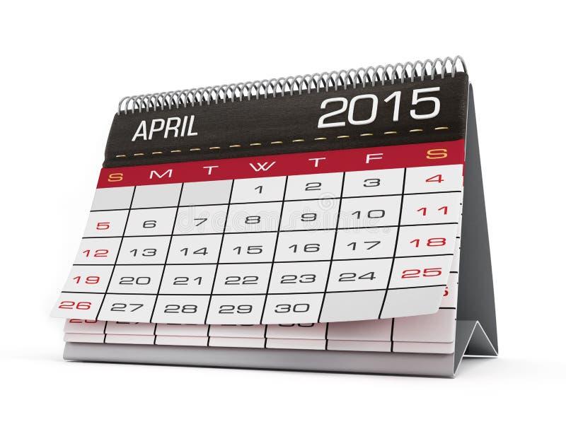 Kwietnia 2015 kalendarz fotografia royalty free