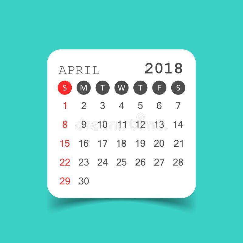 Kwietnia 2018 kalendarz Kalendarzowy majcheru projekta szablon Tydzień gwiazda ilustracji