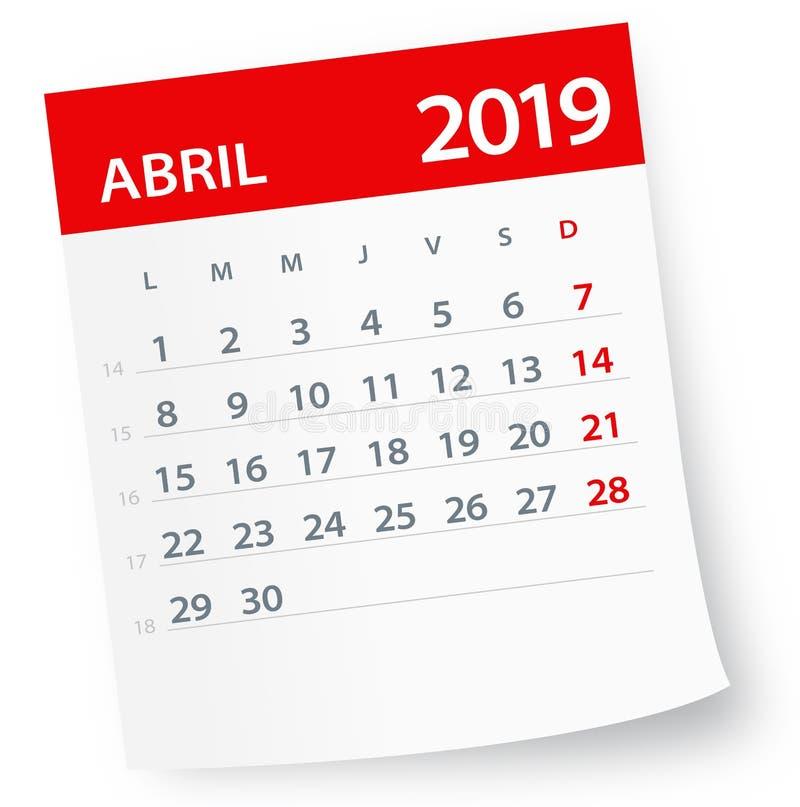 Kwietnia 2019 Kalendarzowy liść - Wektorowa ilustracja Hiszpańska wersja ilustracja wektor