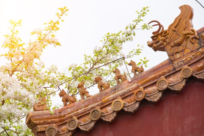 Kwitnący bonkreta okapy i kwiaty dekorował z statuą bestie lub zwierzęta zdjęcia royalty free