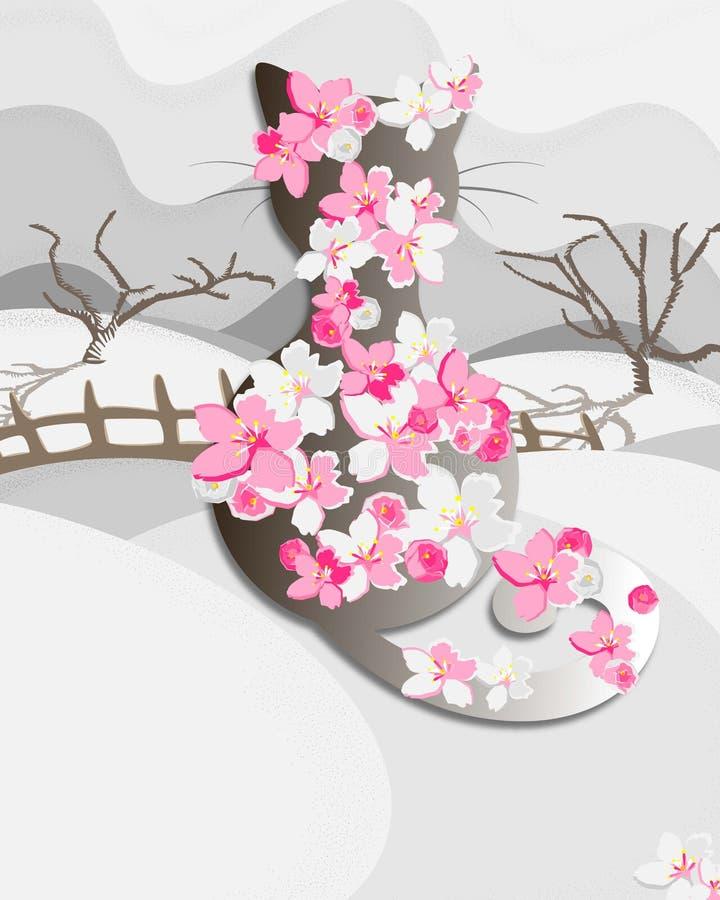 Kwitnący wiosna kot ilustracji