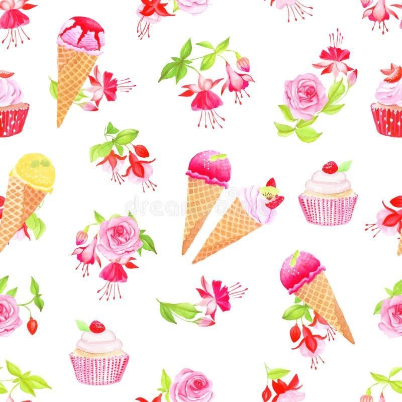 Kwitnąca fuksja, desery i róża bezszwowy wektorowy druk, royalty ilustracja