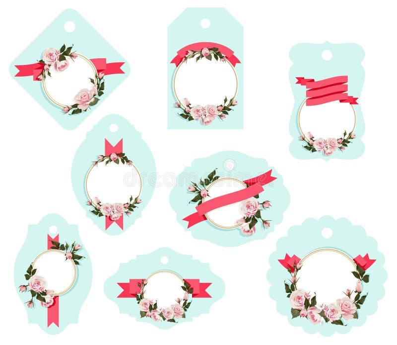 Kwitnąca prezent etykietka Kształtuje wektorową klamerki sztuki bagażu odizolowywającą etykietkę z róży dekoracyjną etykietką ilustracja wektor