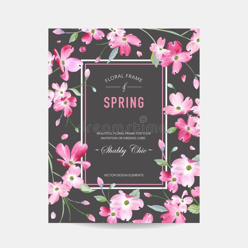 Kwitnąca wiosna i lato Kwiecista rama Akwarela Sakura Kwitnie dla zaproszenia, ślub, dziecko prysznic karta royalty ilustracja