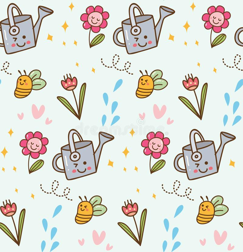 Kwitnący kwiat w kawaii stylu tle ilustracja wektor
