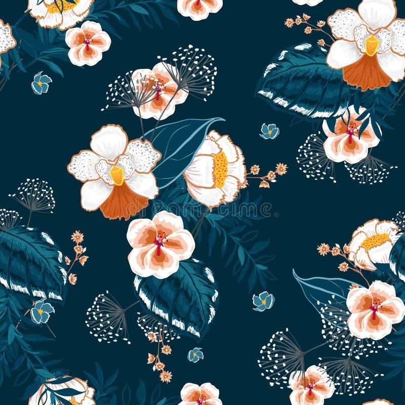 Kwitnący Kwiecisty wzór w dużo jakby kwitnie Tropikalny b ilustracji