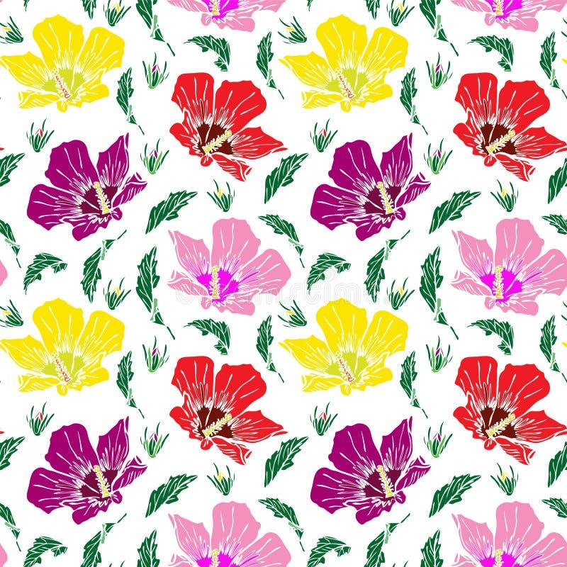 Kwitnący menchii, czerwieni i koloru żółtego ślaz, bezszwowy wzór ilustracji
