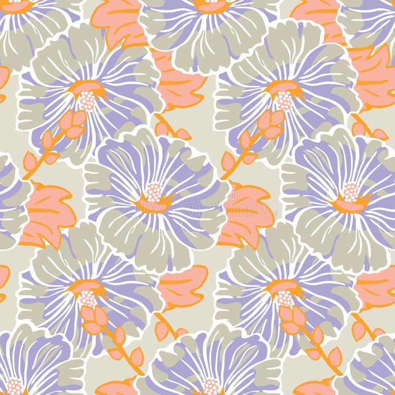 Kwitnący pomarańczowy purpurowy ślazu kwiatu ogródu powtórki wektoru wzoru bezszwowy tło dla tkaniny, scrapbooking ilustracja wektor
