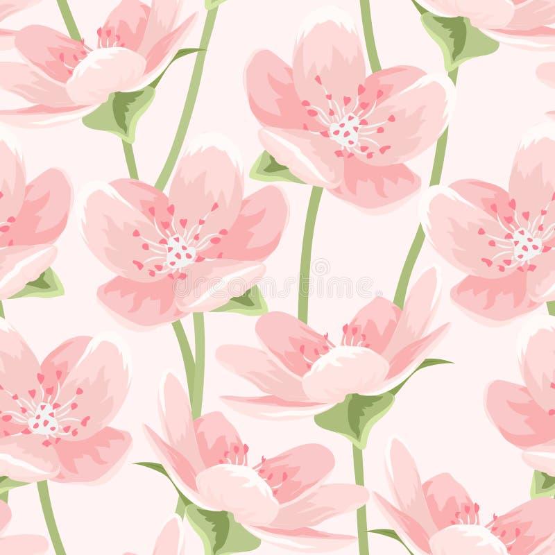 Kwitnący różowy Sakura magnoliowy bezszwowy wzór royalty ilustracja