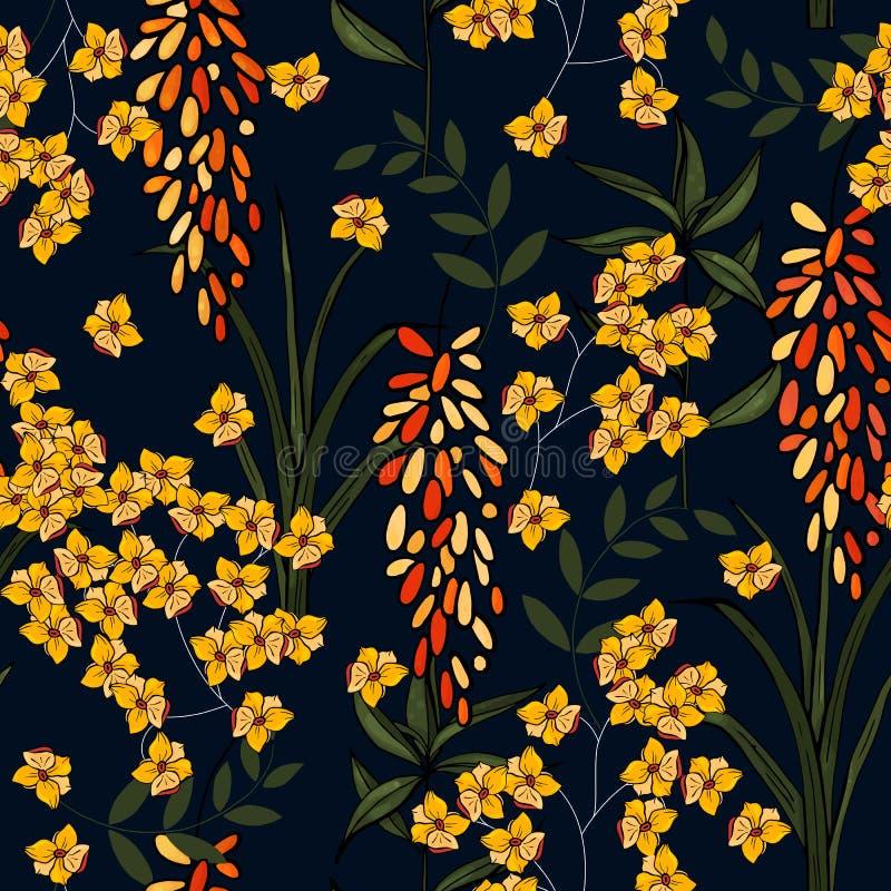 Kwitnący realistyczni odosobneni kwiaty ręka patroszona również zwrócić corel ilustracji wektora Retro Dziki bezszwowy kwiatu wzó royalty ilustracja