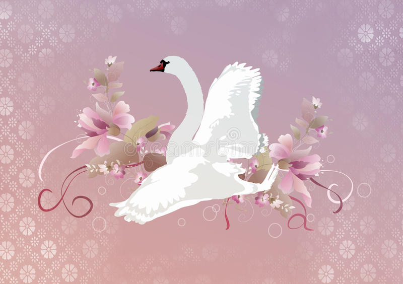 kwitnie łabędziego biel ilustracji