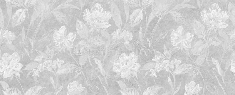 Kwitnie bezszwowego tło, białą tapety teksturę, kwiecistej i liści obraz royalty free