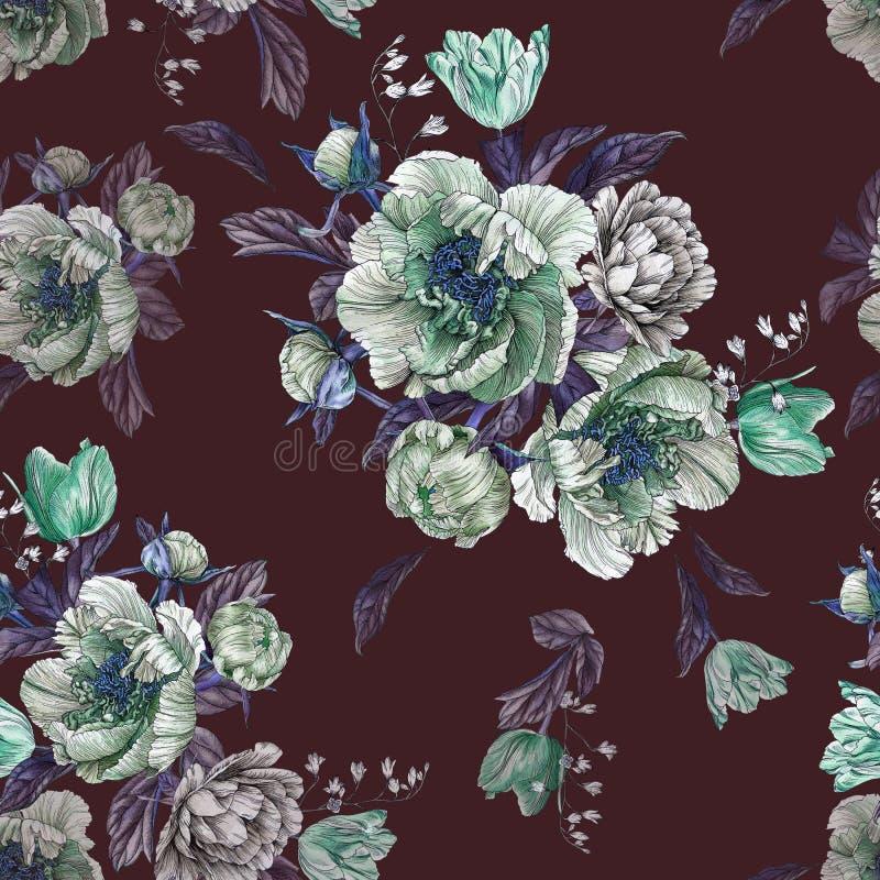 Kwitnie bezszwowego wzór z akwareli peoniami, białymi różami i tulipanami, ilustracja wektor