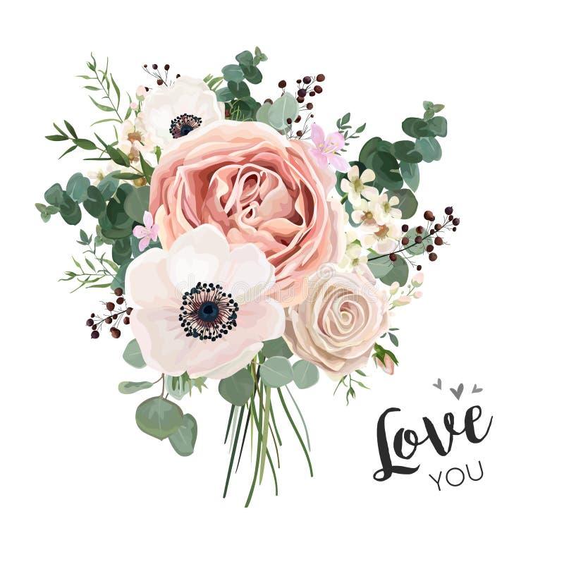 Kwitnie bukiet kwiecistą wiązkę, wektorowy boho projekta przedmiot, element ilustracja wektor