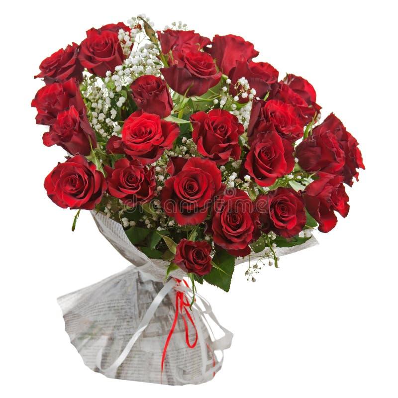 Kwitnie bukiet od czerwonych róż odizolowywać na białym tle. zdjęcie royalty free