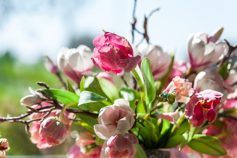 Kwitnie bukiet przed dużym okno z niebieskiego nieba tłem obraz royalty free
