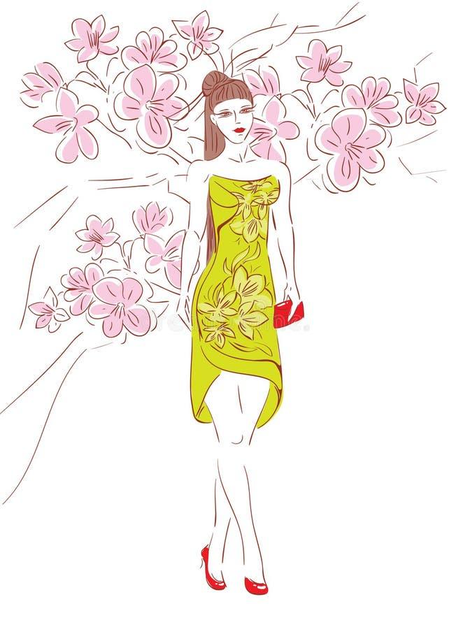 kwitnie czereśniowej dziewczyny royalty ilustracja