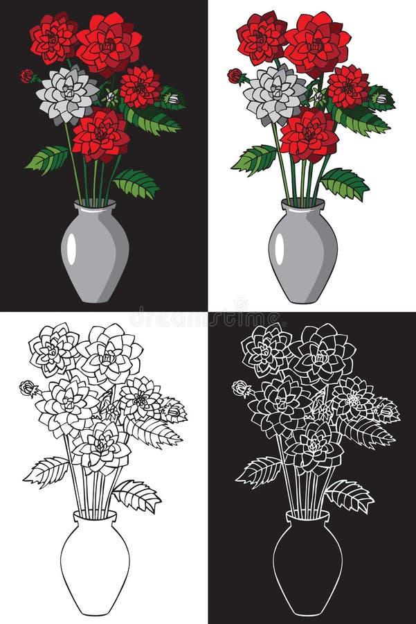 Kwitnie dalie w wazie ilustracji