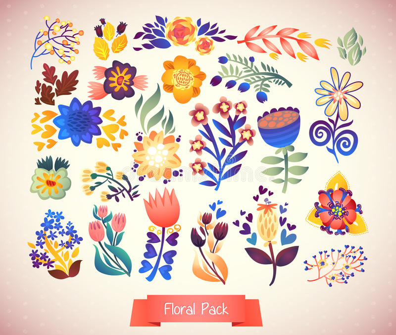 Kwitnie dekoracyjnego set ilustracja doodle rośliny ilustracji