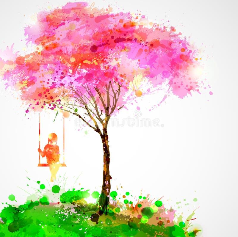 Kwitnie drzewo ilustracji