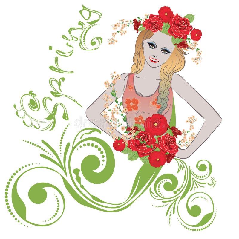 kwitnie dziewczyny wiosna royalty ilustracja
