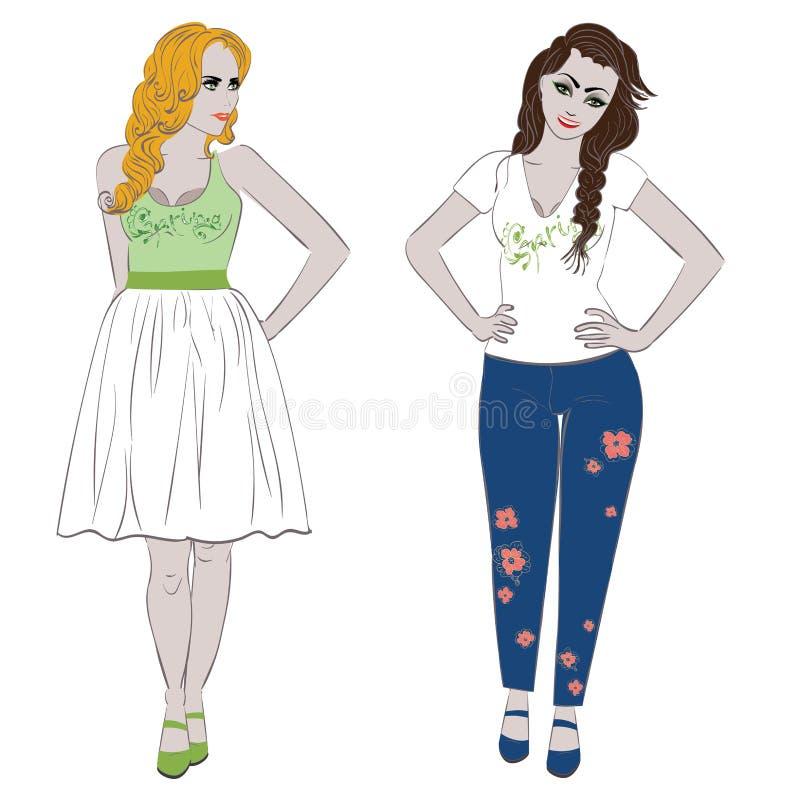 kwitnie dziewczyny wiosna ilustracja wektor