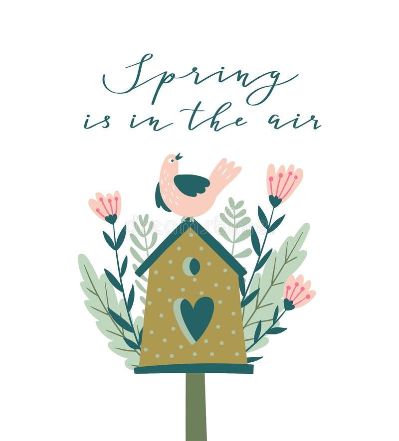 Kwitnie gniazdować pudełko z kaligrafią - ` wiosna jest w lotniczy ` Śliczna sezonu ` s powitań wektoru ilustracja ilustracja wektor
