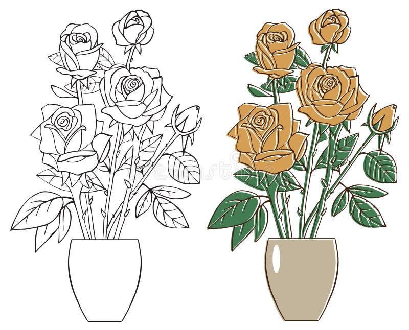 Kwitnie herbaciane róże w wazie ilustracja wektor