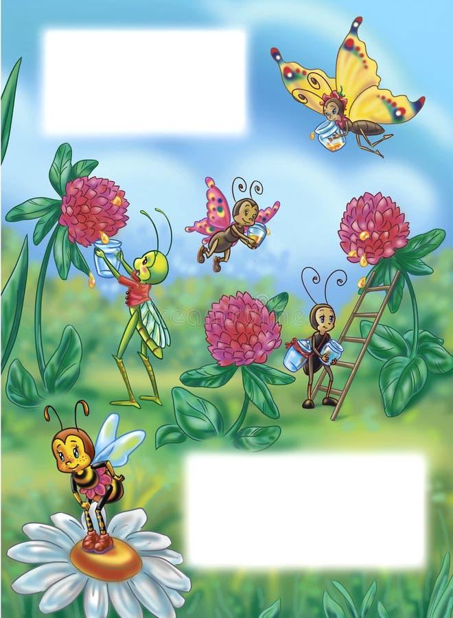 kwitnie insekty ilustracja wektor