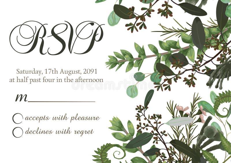 Kwitnie karcianego ślubnego zaproszenie, rsvp z zieloną akwarelą, eukaliptus, lasowa paproć, ziele, eukaliptus, gałąź boxwood, ilustracja wektor