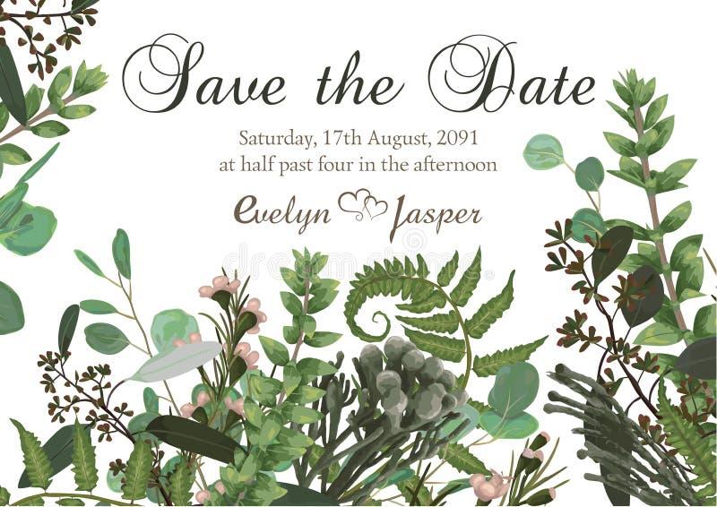 Kwitnie karcianego ślubnego zaproszenie z zieloną akwarelą, eukaliptus, lasowa paproć, ziele, eukaliptus, gałąź boxwood, botanicz ilustracja wektor