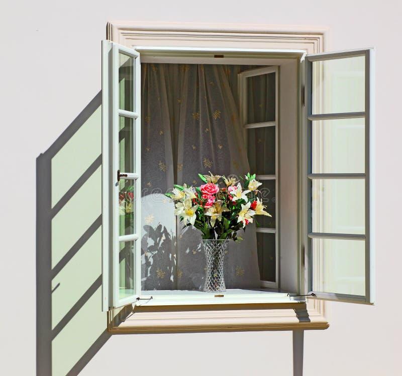 kwitnie okno zdjęcia stock
