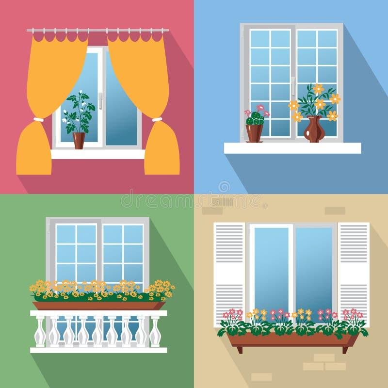 kwitnie okno royalty ilustracja