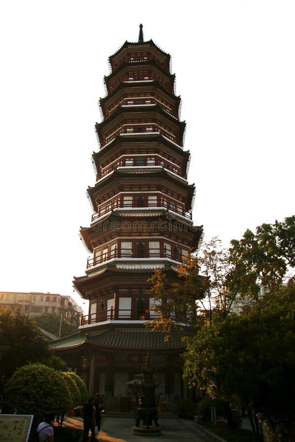 Kwitnie pagodę świątynia Sześć Banyan drzew obrazy stock