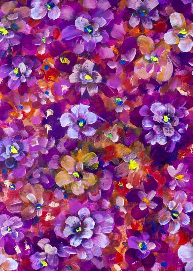 Kwitnie pansy, fiołkowy tekstura obraz olejny Abstrakcjonistyczny ręcznie malowany kwiatu tło ilustracji