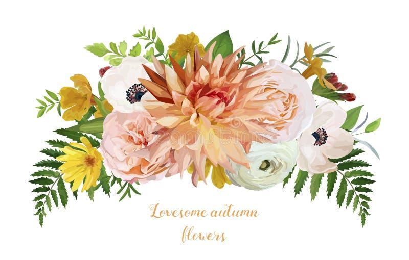 Kwitnie powiewnego luźnego wianku bukiet menchia ogród Wzrastał ilustracja wektor